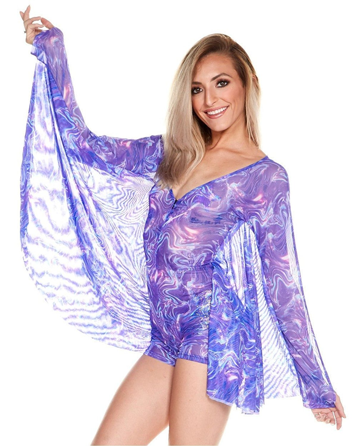 Sheer Mesh Bodysuit, Long Sleeve Zip Up Rave Romper with Wings
