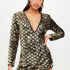 black sequin long sleeved romper