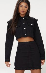Black Ruffle Cropped Denim Jacket