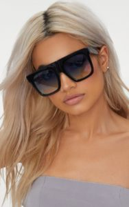 Black Wide Frame Square Sunglasses