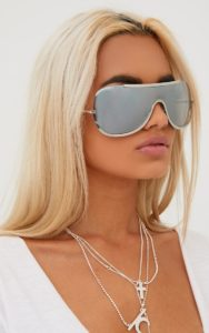 Silver Oversized Curved Mirror Aviators