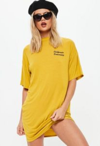 yellow california dreaming embroidered oversized t-shirt dress