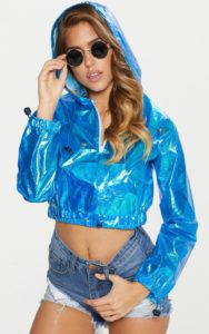 Blue Cropped Iridescent Pocket Detail Rain Mac