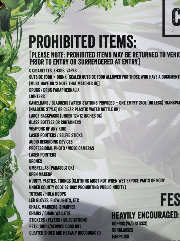 CRSSD Prohibited Items
