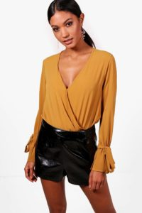Hayley Wrap Over Tie Sleeve Bodysuit