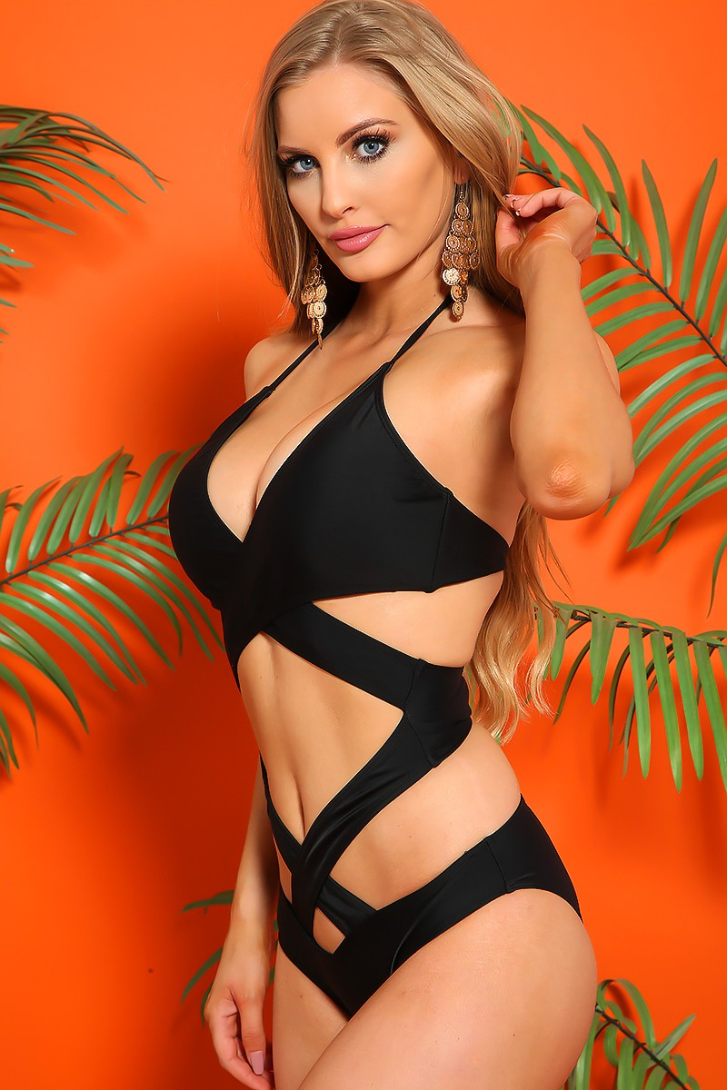 Sexy Black Versatile Wear Padded Halter One Piece Swimsuit