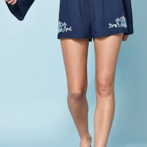 Smocked Embroidered Shorts