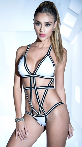STRIPED CAGE BODYSUIT