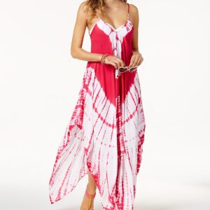 Tie-Dyed Handkerchief-Hem Maxi Dress Cover-Up
