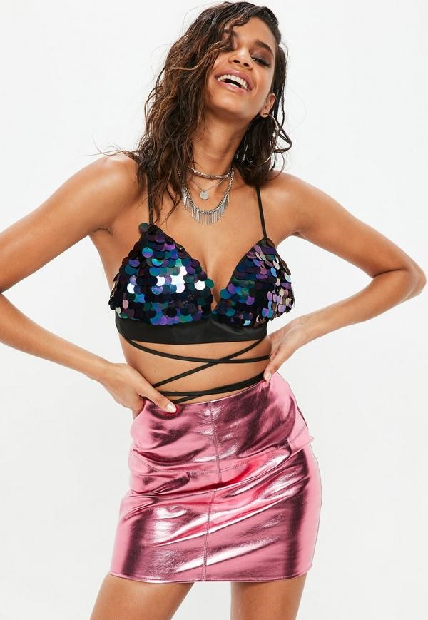 black iridescent sequin multi wrap bralette