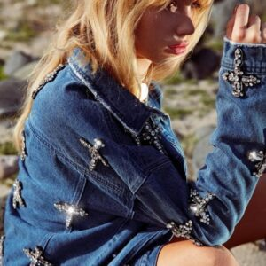 blue denim embellished cross oversized jacket