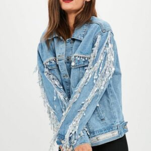 blue embellished sequin fringe denim jacket
