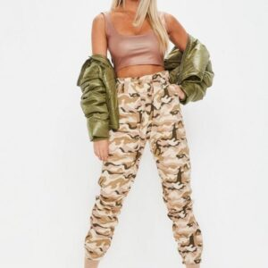 cream wrap front camo cargo pants