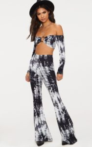 Black Tie Dye Flared Trousers