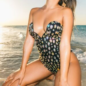 Black Iridescent Jeweled Swimsuit