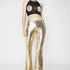 Galactic Goddess Gold Bell Bottoms