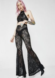 J Valentine Black Cyclone Lace Bell Bottoms