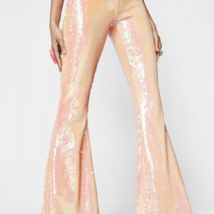 Peach Sequin Bell Bottoms