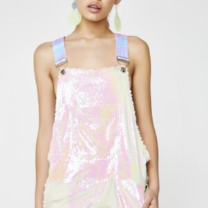 Pink Unicorn Sequin Short Overalls