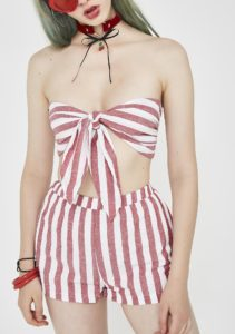 Red Stripe Bandeau Short Set