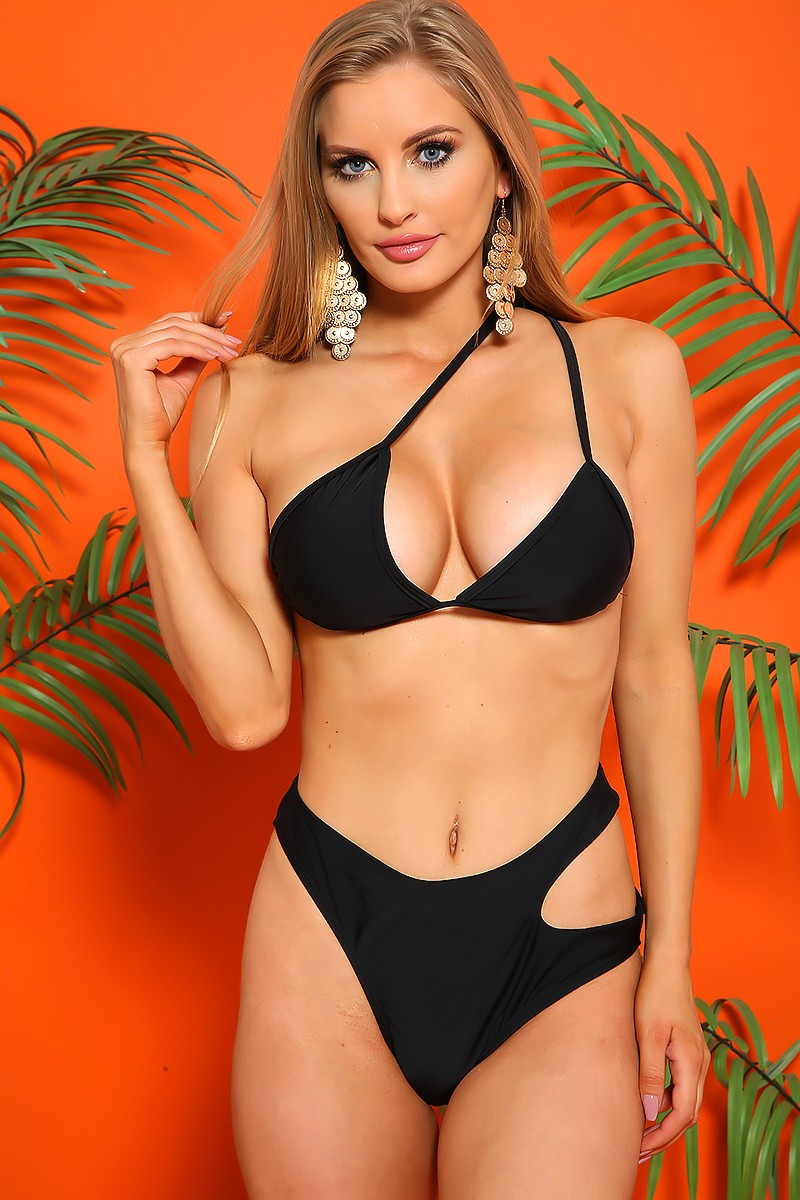 Sexy Black Triangle Halter High Waist Cut Out Two Piece Swimsuit