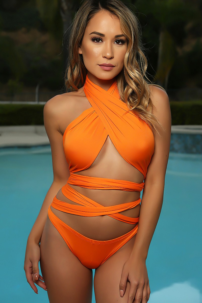 Sexy Orange Criss Cross Wrap Tie Two Piece Swimsuit