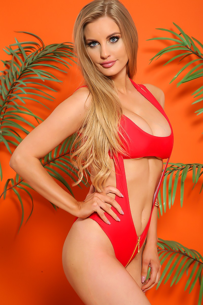 Sexy Red Halter Zipper Cheeky Two Piece Swimsuit