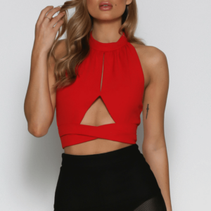 estelle red crop top