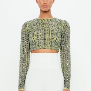 green embellished mesh crop top