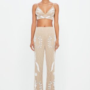 nude embellished flared pants