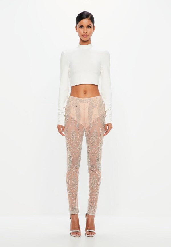 nude embellished sheer pants