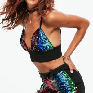 black denim rainbow sequin shorts