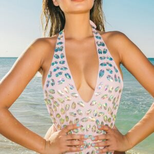 Baby Pink Plunge Jeweled Swimsuit
