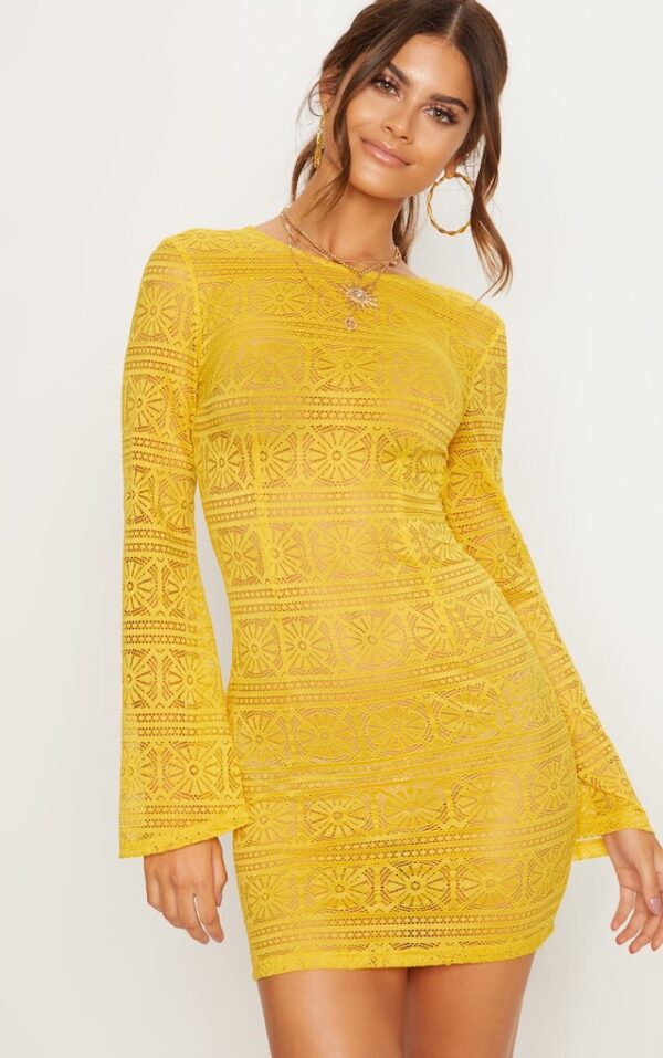 Yellow Tie Back Lace Dress