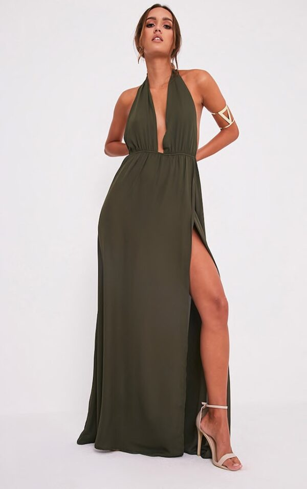 Khaki Green Maxi Dress