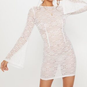 White Tie Back Lace Bodycon Dress