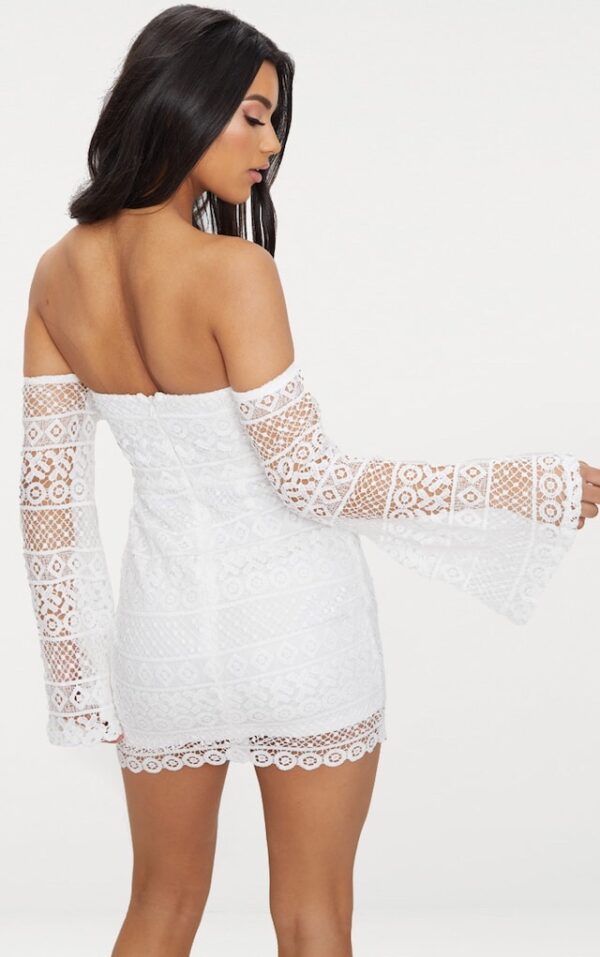 White Lace Flare Sleeve Dress
