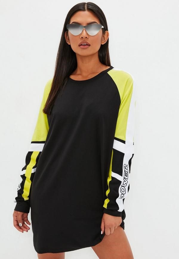 black fluro sweater dress