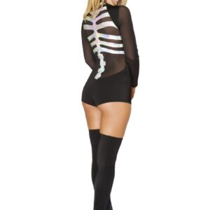 Black Silver 1 Pc Skeleton Costume