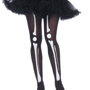 Black Skeleton Bone Print Tights