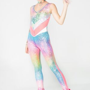 Holographic Rainbow Jewel Reversible Catsuit