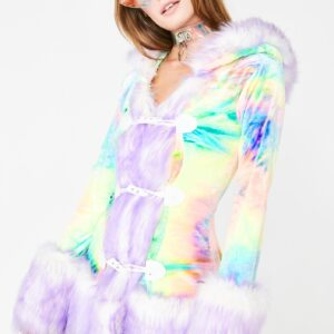 J Valentine Milky Rainbow Hooded Coat