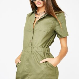 Mini Olive Green Dress