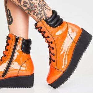 Orange Darby Patent Boots