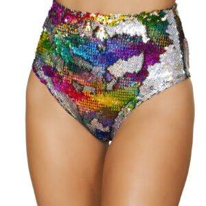 Rainbow Sequin Rave Wear High Waisted Shorts