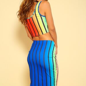 Rainbow Striped Two Piece Party Dress