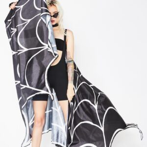 halloween spiderweb halter cape black