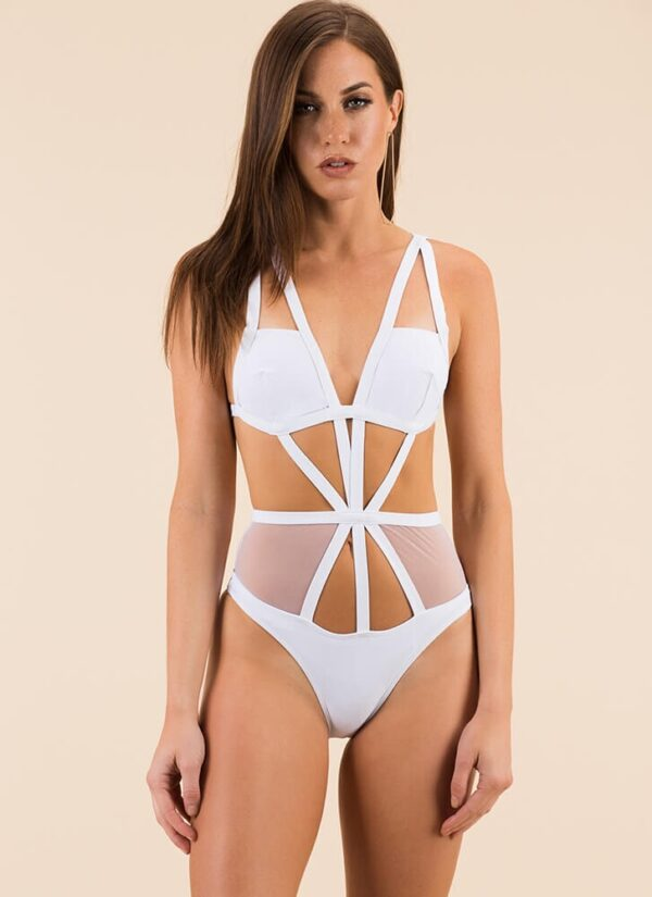 Caged Mesh Swimsuit