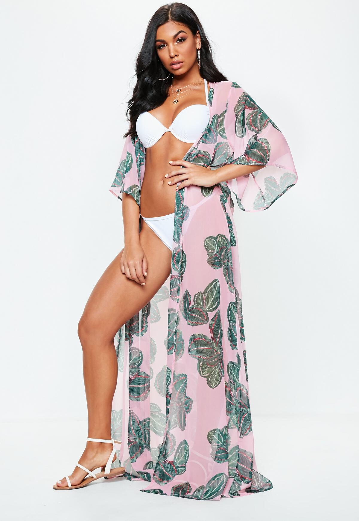 88c727d33a pink leaf kimono cover up - Women of Edm