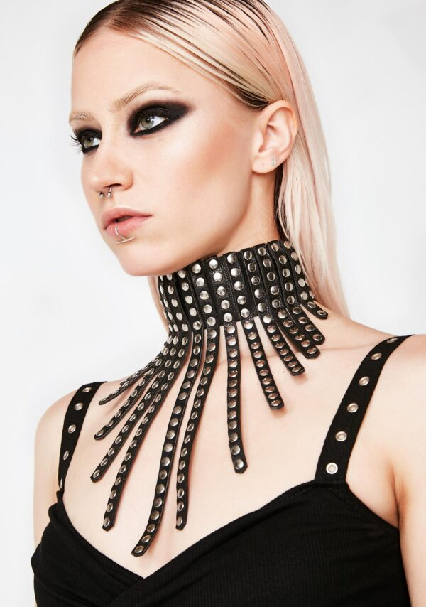 vegan leather studded leather collar